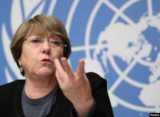 FILE - U.N. High Commissioner for Human Rights Michelle Bachelet attends a news conference at the United Nations in Geneva, Switzerland, Dec. 5, 2018.