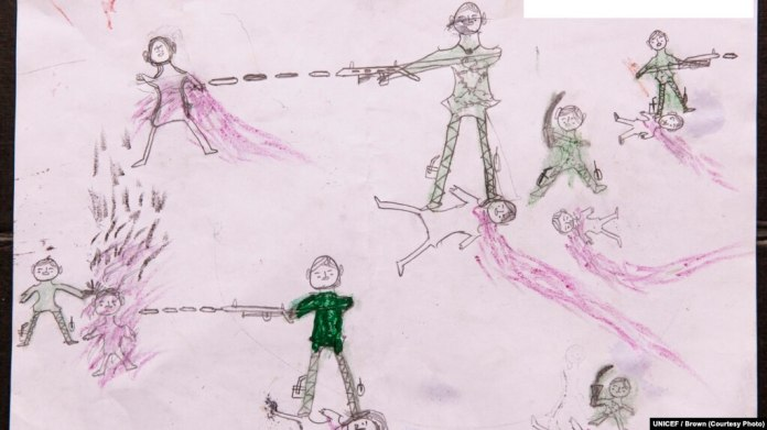 [NAME CHANGED] On Oct. 2, 2017, a drawing by a Rohingya boy, Abdul, revealing the horrific experiences he endured while fleeing from Myanmar to Bangladesh, at the children friendly space at the Balukhali makeshift refugee camp in Cox's Bazar district in Bangladesh.