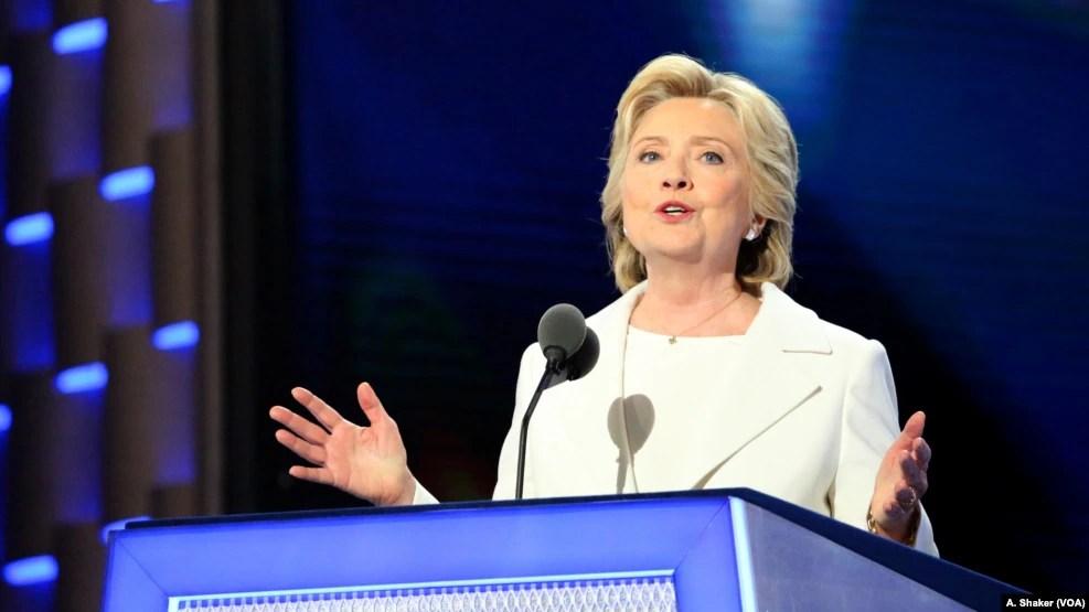 Bà Clinton chính thức chấp nhận đề cử của đảng Dân chủ tại Đại hội Đảng ở Philadelphia, 28/7/2016.
