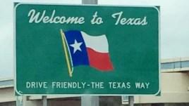 Biển hiệu chào đón tới Texas.