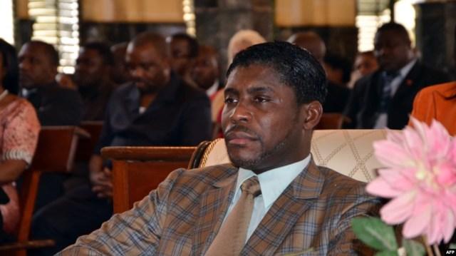 Teodorin Obiang Nguema, fils du président de la Guinée équatoriale lors d'une messe à Malabo, le 25 juin 2013.