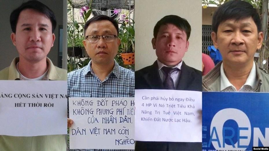 Các nhà hoạt động đang bị chính quyền Việt Nam giam cầm, từ trái sang: Phạm Văn Trội, Nguyễn Bắc Truyển, Nguyễn Trung Tôn, và Trương Minh Đức.