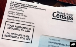 FILE - An envelope contains a 2018 census test letter.