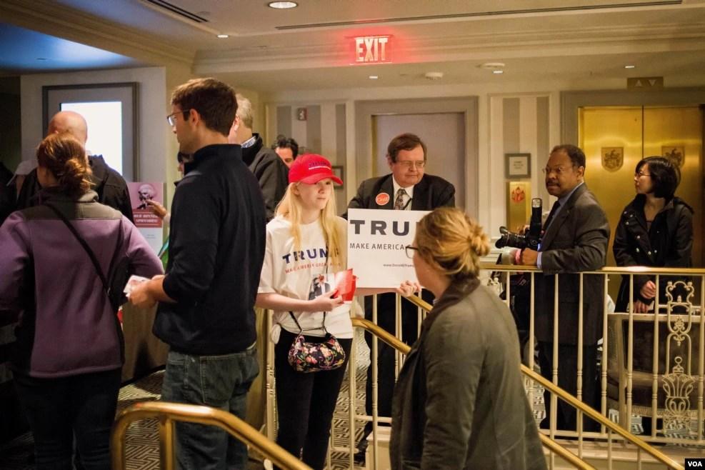 共和党候选人川普的支持者。(美国之音方正拍摄)