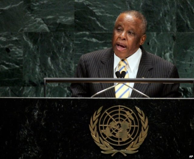 Festus Mogae addresses the 62nd session of the United Nations General Assembly, Sept. 26, 2007.