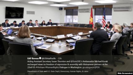 Đối thoại Nhân quyền Việt Nam - Hoa Kỳ lần thứ 22 tại thủ đô Washington, Hoa Kỳ, ngày 17/5/2018. Twitter EAP US Department of State