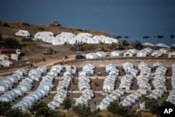 Kamp pengungsi sementara baru di Kara Tepe, di timur laut pulau Lesbos, Yunani, Kamis, 17 September 2020.