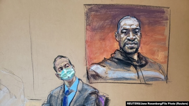 被控杀害乔治·弗洛伊德(George Floyd)的前明尼阿波利斯警察德里克·肖万(Derek Chauvin)在庭审中(画像)(2021年3月29日)
