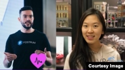 The three winners of the CodeTheCurve hackathon challenge are shown. From left, Joaquin Lopez Herraiz from the X-COV team; Ali Serag, leader of COVIDImpact; and Christy Xie, from team VRoam. (Photos: CodeTheCurve/Facebook)