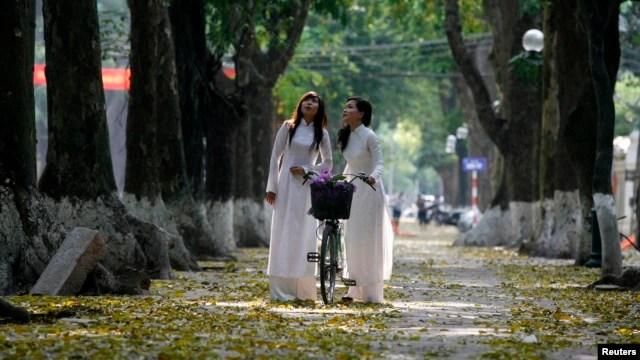Nữ sinh Hà Nội mặc áo dài tạo dáng chụp ảnh trên phố mùa lá rụng.