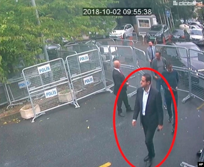 In a frame from surveillance camera footage taken Oct. 2, 2018, and published Oct. 18, 2018, by Turkish newspaper Sabah, a man identified by Turkish officials as Maher Abdulaziz Mutreb, walks toward the Saudi consulate in Istanbul before journalist Jamal Khashoggi disappeared.