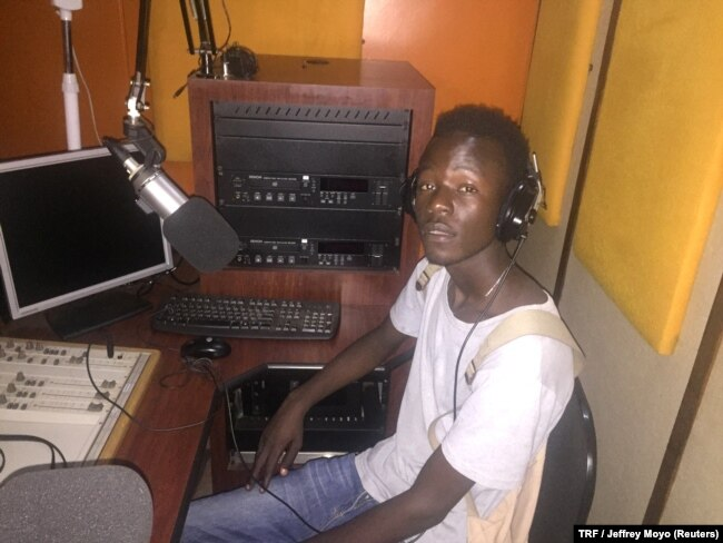 Former drug addict Innocent Ndaramashe, now an up-and-coming musician, works in a studio in Harare, Zimbabwe, Feb. 14, 2018.
