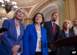 From left, Sen. Kirsten Gillibrand, D-N.Y., Sen. Mazie Hirono, D-Hawaii, Sen. Richard Blumenthal, D-Conn., and Sen. Patty Murray, D-Wash., assistant Senate minority leader, speaking about Supreme Court nominee Brett Kavanaugh.