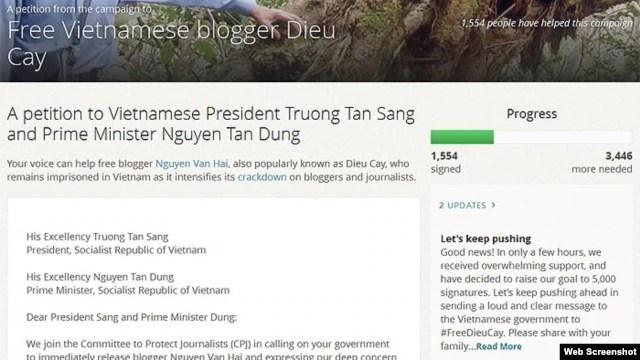 Thỉnh nguyện thư của Ủy ban Bảo vệ Ký giả quốc tế CPJ kêu gọi Việt Nam phóng thích blogger Điếu Cày Nguyễn Văn Hải.