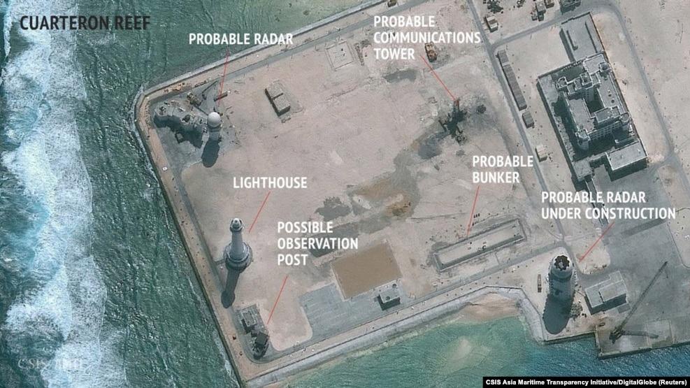 Hình ảnh vệ tinh của cơ quan Sáng kiến Minh bạch Hàng hải châu Á thuộc CSIS ngày 23/2/2016 cho thấy Trung Quốc dường như đã xây dựng các cơ sở radar ở quần đảo Trường Sa.