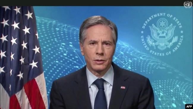 联合国电视视频截图显示美国国务卿布林肯对日内瓦的联合国人权理事会发表视频讲话。(2021年2月24日)
