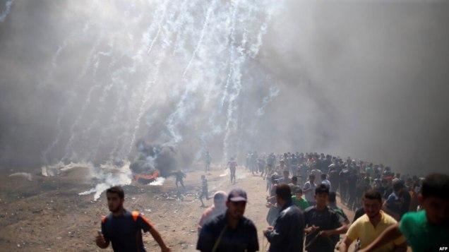 Người biểu tình ở Dải Gaza, ngày 14/5/2018.