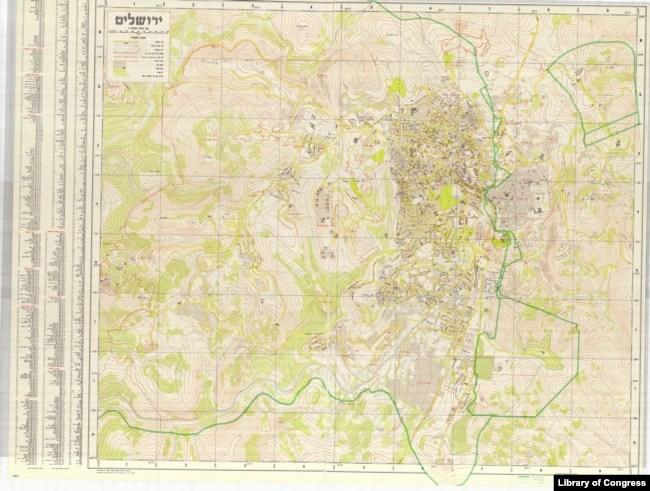 1958 Israeli Surveying Department Map of Jerusalem.