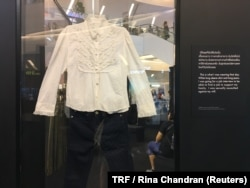 A display at an exhibition featuring clothing worn by victims at the time of sexual assault in Bangkok, Thailand, June 29, 2018.