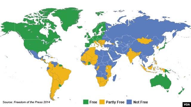 Bản đồ về Tự do báo chí năm 2014 của Freedom House.