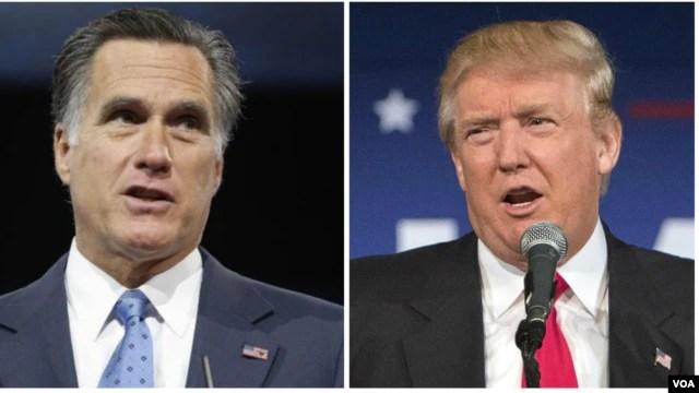 Cựu ứng viên Tổng thống Mỹ của đảng Cộng hòa Mitt Romney và tỉ phú Donald Trump.