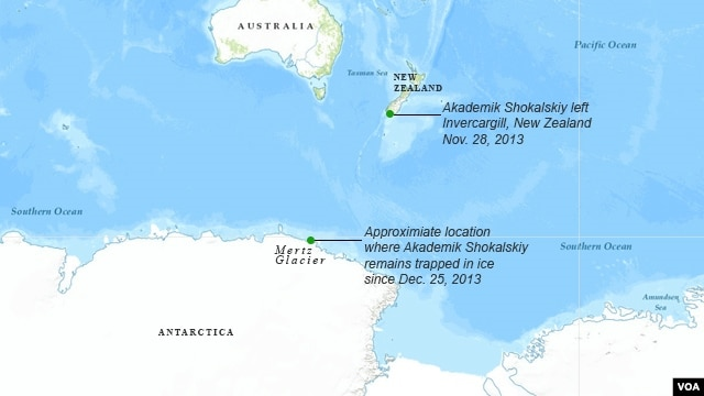 Route of MV Akademik Shokalskiy