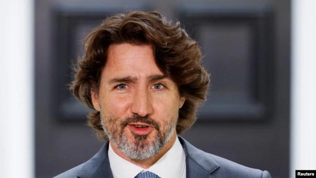 加拿大总理特鲁多在渥太华的一个记者会上(2021年6月22日)