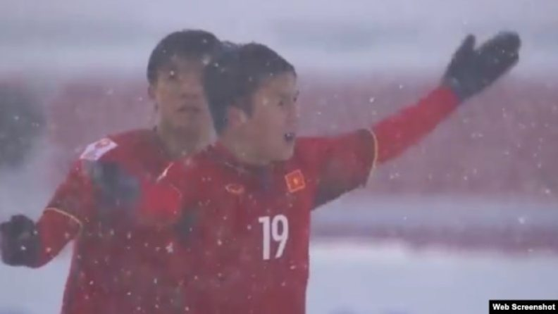 Cầu thủ Quang Hải ăn mừng bàn thắng gỡ hòa cho Việt Nam.