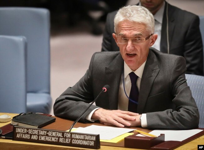 Mark Lowcock, the U.N. Humanitarian Affairs Emergency and Relief Coordinator, addresses United Nations Security Council at U.N. headquarters, Oct. 23, 2018.