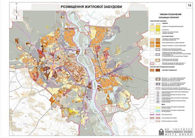 Жилое строительство на генплане Киева