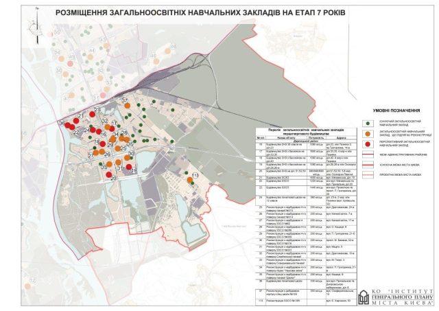 Генплан Дарницкого района новые школы