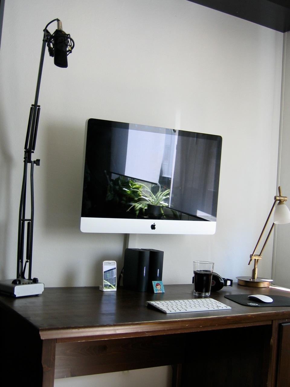 Schreibtisch design apple  27″ iMac an die Wand gebracht – GDGTS