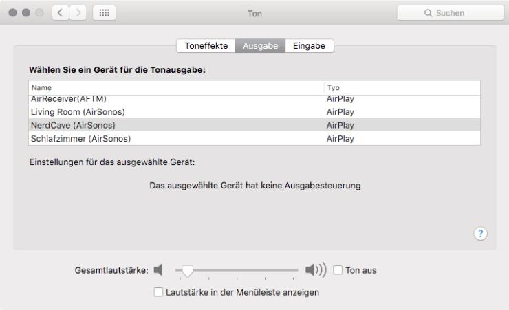AirSonos in OS X auswählen