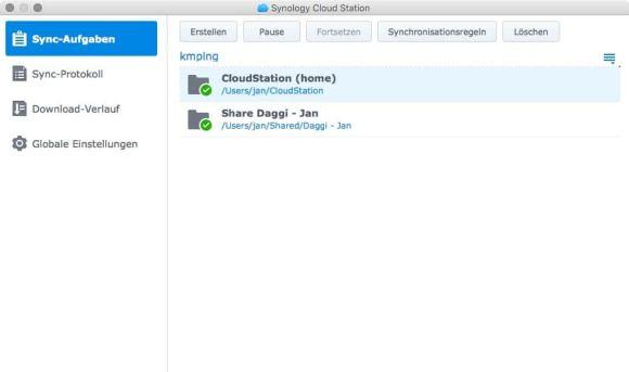 Cloud Station Client Screenshots OS X 1