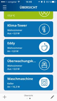 Geräte im Dashboard – Schnellwahlliste.