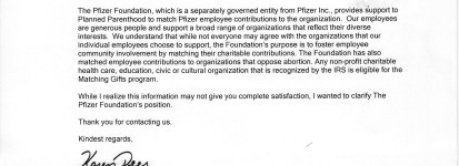 Pfizer response planned parenthood