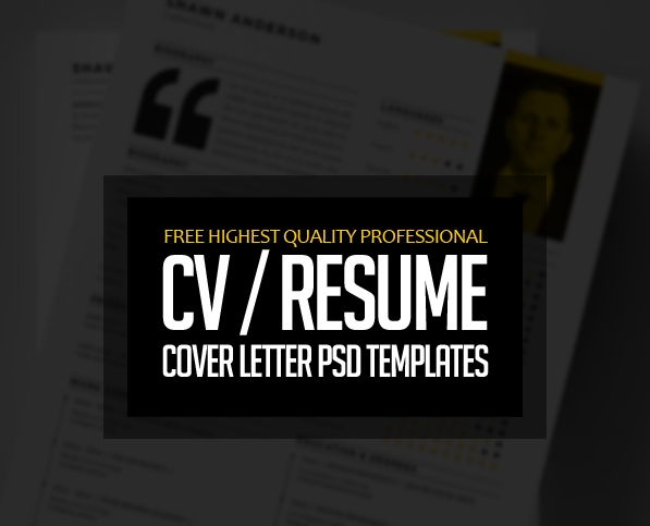 Free Professional CV Resume and Cover Letter PSD Templates     15 Free Professional CV Resume and Cover Letter PSD Templates