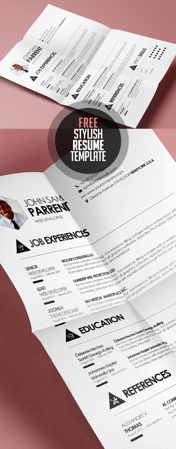 Free Resume Templates for 2017   Freebies   Graphic Design Junction Simple and Stylish Design CV  Resume Template  PSD   EPS