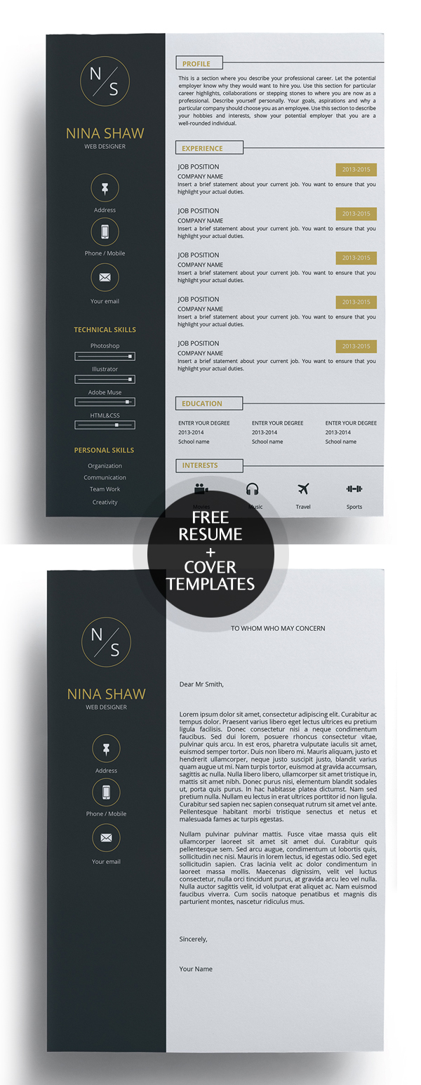 23 Free Creative Resume Templates with Cover Letter   Freebies     Free Resume Template and Cover Letter