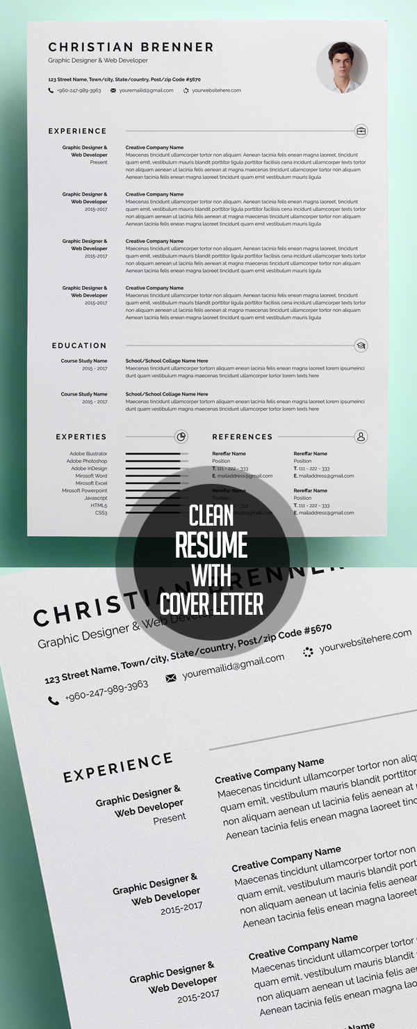 resume format 2015%0A Web Developer Resume Template Clean Resume CV With Cover Letter