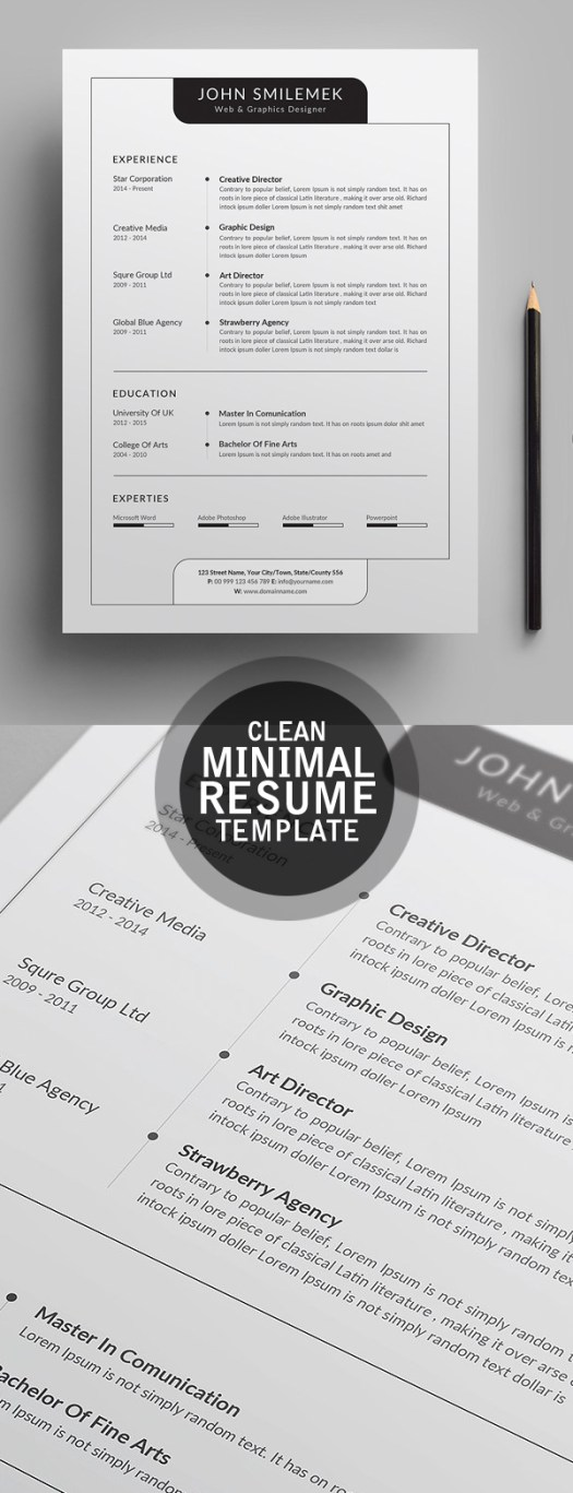 Clearn Minimal CV / Resume Template 2018