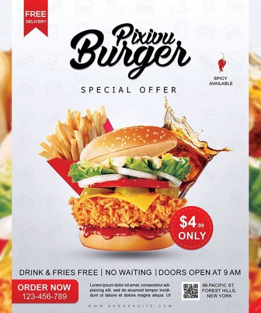 How to Create Burger Restaurant Flyer Design in Photoshop Tutorial