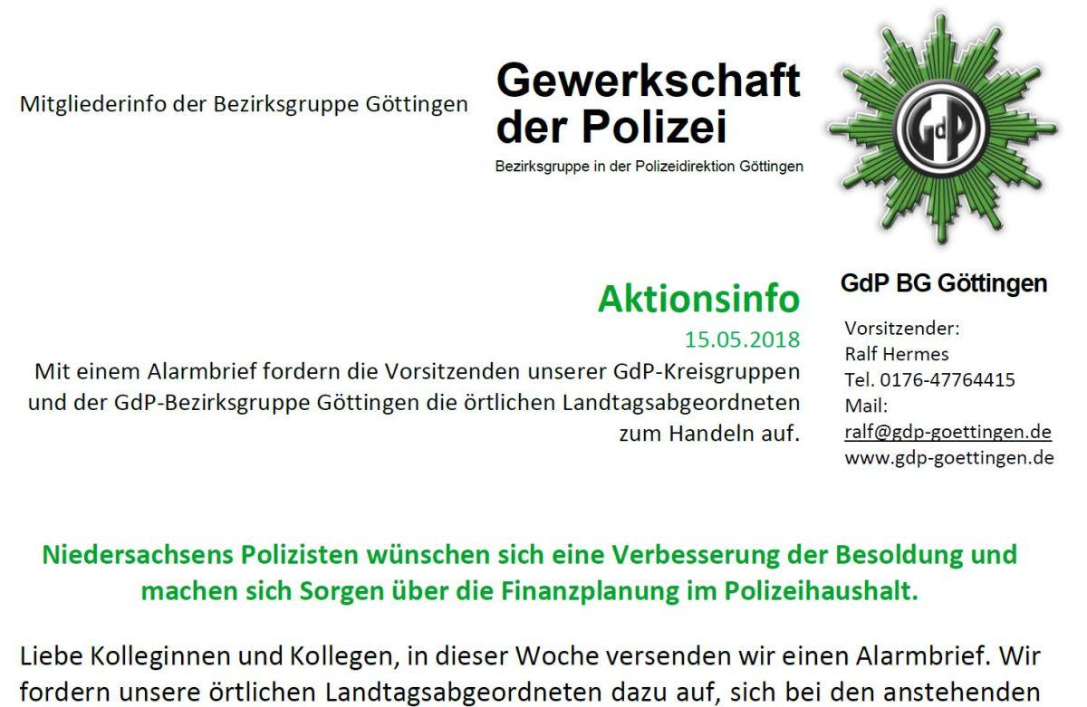 GdP Mitgliederinformation zur Alarmbriefaktion unserer Bezirksgruppe Göttingen
