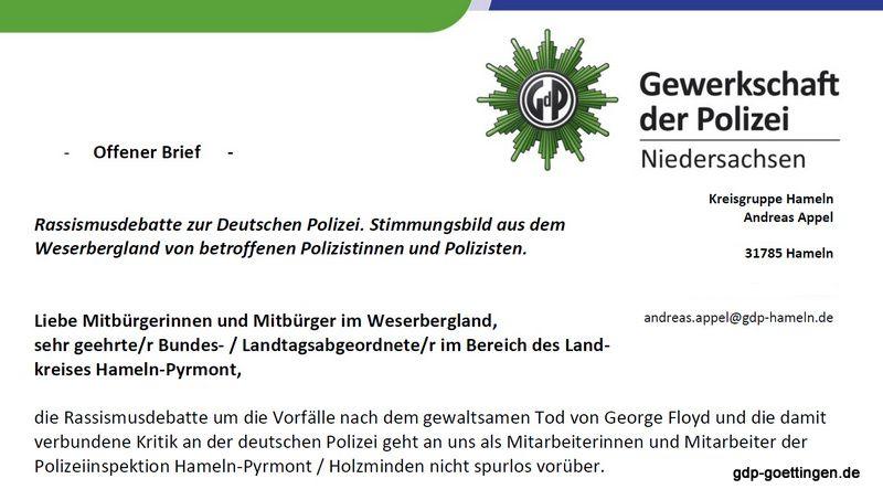 Offener Brief der GdP Kreisgruppe Hameln-Pyrmont: Rassismusdebatte zur Deutschen Polizei – Stimmungsbild aus dem Weserbergland von betroffenen Polizistinnen und Polizisten