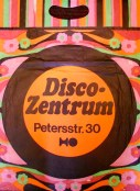 """Paper bag from Leipzig record store, """"Disco-Zentrum"""" - produced by People's Own Packaging Dresden (44 cm X 33 cm)"""