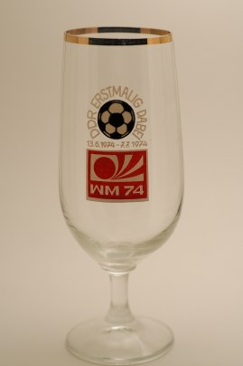 """First World Cup Apperance"": glass commemorating GDR's first, and only, time participating at World Cup (photo: R. Newson)."
