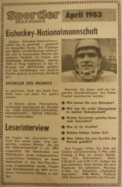 Athlete of Month honours in Sportecho for April 1983 go to national hockey team for its 6th place at World Championships in West Germany (photo: Sportecho)