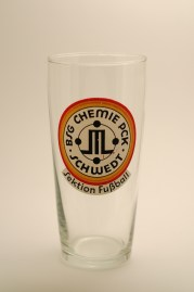 "Beer glass from the ""Football Section"" of PCK Oil Refinery's Factory Sport Collective (photo: R. Newson)"