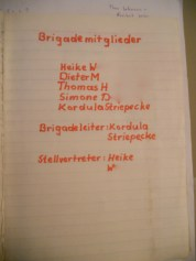 The index page of the Brigade Book kept by its Leader Kordula Striepecke (photo: author)