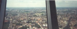 The view north from the tower in 1996 includes the newly renovated golden dome of the synagogue in Oranienburgerstrasse (at left) (photo: author).